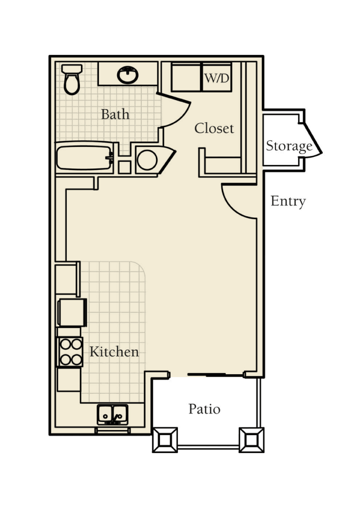-Elm ADA Studio /1 BATH 564 Sq.ft.Sq.ft.