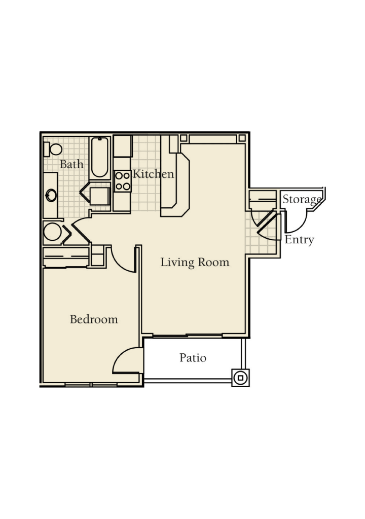 -Oak 1  BED/1 BATH 701 Sq.ft.Sq.ft.
