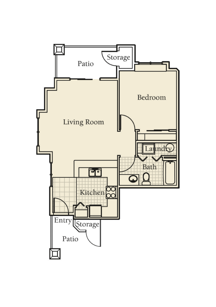 -Maple 1  BED/1 BATH 741 Sq.ft.Sq.ft.