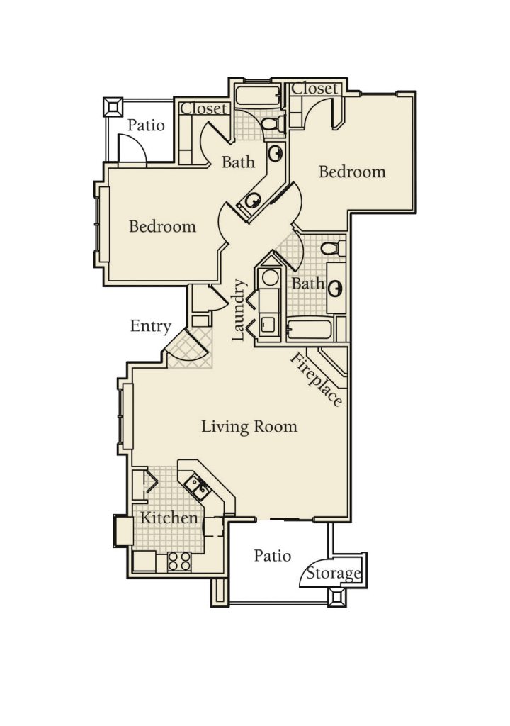 -Redwood 2  BED/2 BATH 1235 Sq.ft.Sq.ft.